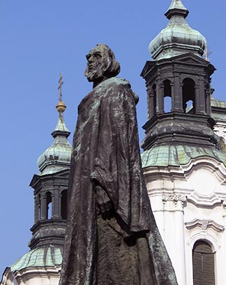 A statue of Jan Hus, a church reformer who was burned at the stake in 1415, a century before the Reformation, stands in the Old Town Square in Prague, Czech Republic.
