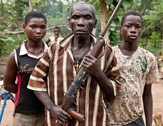 Luciano Medechio and his children Victoria and Matthew, are survivors of an LRA attack in Kidi Boma, South Sudan.