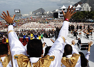 A Choir sings in preparation for the World Youth Day closing Mass in Rio de Janeiro July 28.