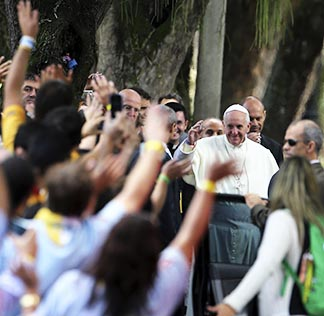 Pope Francis arrives at Quinta da Boa Vista park, where he heard the confessions of five3 young people at World Youth Day, in Rio de Janeiro.