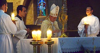 Edmonton Auxiliary Bishop Gregory Bittman leads a prayer vigil for peace in Syria Sept. 7 at St. Joseph's Basilica.