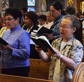Several hundred people took part in the prayer vigil for Syria Sept. 7 at St. Joseph's Basilica.