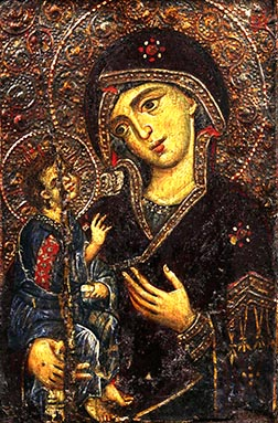 This icon of Mary and the Christ Child from about 1250 titled Virgin Hodegetria, meaning