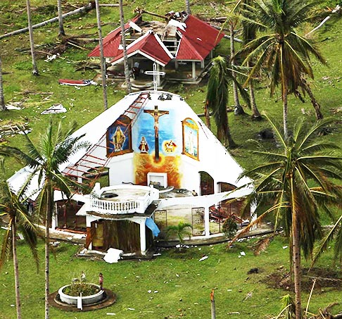 A roofless church is seen Nov. 20 in the aftermath of Typhoon Haiyan in a remote part of the eastern Philippines. Philippine authorities, the U.S. military and international agencies face a mounting humanitarian crisis, with an estimated 4 million people displaced by Typhoon Haiyan when it came ashore Nov. 8.