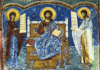 This fresco of Christ in Majesty shows the Saviour enthroned, flanked by the Virgin Mary and St. John the Baptist.