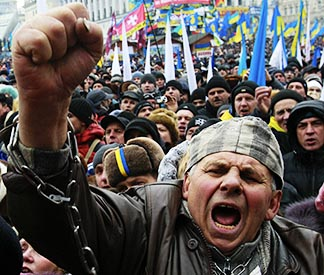 A man shouts slogans during a Dec. 8 rally organized by supporters of the European Union integration at Independence Square in Central Kyiv, Ukraine.