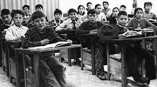 Children in a class at the Ermineskin Indian Residential School at Hobbema are shown in this photo dated 1932.