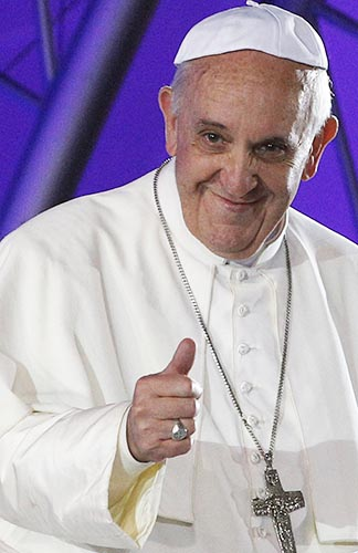 Pope Francis gives a thumbs up at World Youth Day in Rio de Janeiro.
