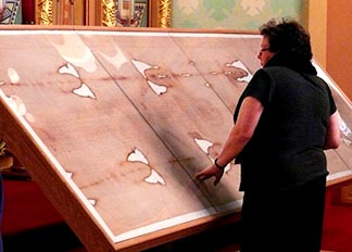 Unlike when people visit the original Shroud of Turin in Italy, visitors who come to see the replica of the Shroud at Edmonton's St. Josaphat's Ukrainian Catholic Cathedral can get up close and personal.