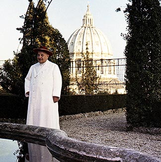 Blessed John XXIII is pictured in the Vatican Gardens where he quickly tired of walking the same path every day.