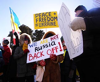 About 100 pro-Ukraine demonstrators protest outside the Russian Embassy in Ottawa last month against what they called the illegal referendum in Crimea, where 95 per cent of voters cast ballots in favour of joining Russia. Douglas Roche Says a peaceful solution in the Ukraine would involve keeping the country neutral and keeping it out of NATO.