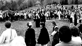 Ukrainian Archbishop Volodymyr Sterniuk (centre left) and Auxiliary Bishop Julian Voronovsky stand in the centre of a traditional Easter dance in 1990 in Ukraine, the first year Ukrainian Catholics were able to celebrate Holy Week publicly since the Second World War.