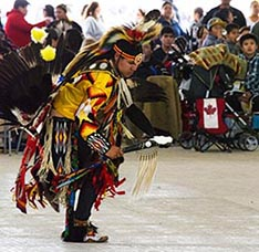 Farian Bull, 16, of Maskwacis (Hobbema) dances.