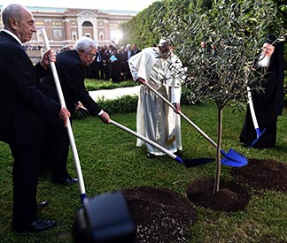 Israeli President Shimon Peres, Palestinian President Mahmoud Abbas, Pope Francis and Ecumenical Patriarch Bartholomew of Constantinople plant an olive tree after an invocation for peace in the Vatican Gardens June 8.