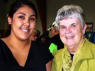 Monique Desjarlais (left) accompanied here by Sr. Bernadette O'Reilly of Winnipeg's Rossbrook House, recently completed her bachelor of education.