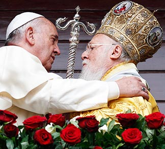 Pope Francis and Ecumenical Patriarch Bartholomew embrace in Istanbul Nov. 30.