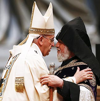 Pope Francis embraces Catholicos Karekin II of Etchmiadzin, patriarch of the Armenian Apostolic Church, during an April 12 Mass to mark the 100th anniversary of the Armenian genocide.