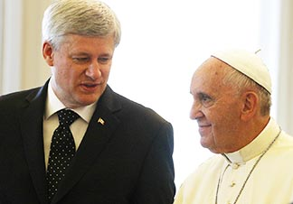 Prime Minister Stephen Harper and Pope Francis discuss residential schools, Ukrainian unrest.