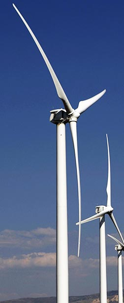 Wind turbines offer a plentiful source of electricity while limiting carbon emissions.