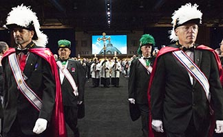 Members of the Knights of Columbus process during Mass Aug. 4 at their annual convention in Philadelphia. Approximately 2,000 knights gathered at the Pennsylvania Convention Center for their 133rd supreme convention.