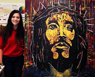 Lucy Cook created this painting of Jesus wearing a crown of thorns to tell viewers Jesus loves them.