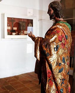 An 18th-century statue of Christ greets visitors in the museum at Old Mission San Luis Rey de Francia in Oceanside, Calif.