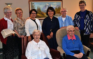 Ursuline Sisters in Edmonton include Mary Clare Stack (left) , Marjorie Dylke, Pilar Valdez, Helen Pinto, Christine Coster, Hazel Dalton, Connie Piska (seated, left)  Elsie Herle, (seated right).
