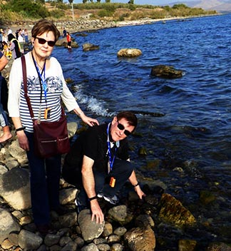 Lorraine and John Caldwell stop by the Sea of Galilee.