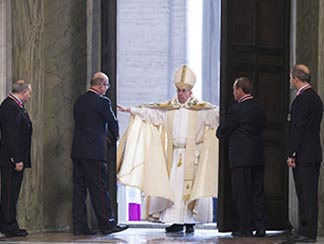 Pope Francis opens the Holy Door of St. Peter's Basilica to inaugurate the Jubilee Year of Mercy at the Vatican Dec 8.