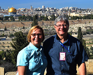 Debbie and Larry Jackson overlook the city of Jerusalem.