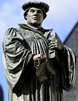 A statue of Martin Luther stands in his hometown of Eisleben, Germany.