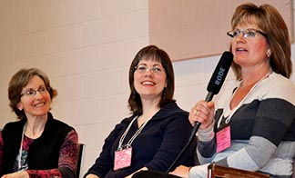 Homeschool mothers and facilitators Michele Barter, Rachelle Godin and Maria Waldner took part in a panel session March 11 at the Western Canadian Catholic Home School Conference.