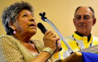 Elsie Paul, flanked by Archbishop Sylvain Lavoie, told the Archdiocesan Catholic Women's League that learning traditional Cree ways helped her overcome a life of alcohol and drug addiction, and violence.
