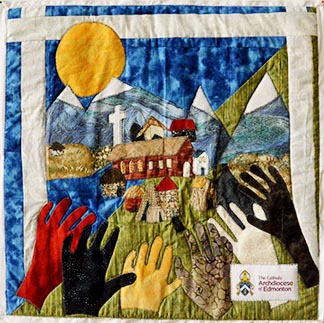 Canadian diocese have been invited to provide a square for a national solidarity quilt marking CCODP's 50th anniversary. Sheila Davidson created the square for the Edmonton Archdiocese.