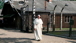Pope Francis visits the Auschwitz Nazi death camp in Oswiecim, Poland, July 29.