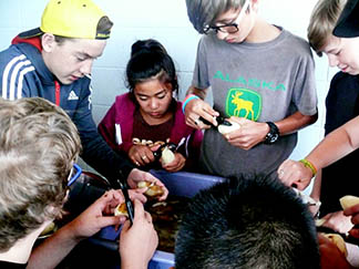 Helping with chores, such as peeling potatoes, is expected of every camper at OLVC.