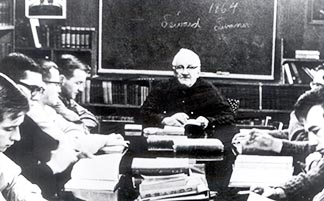Père Athol Murray, shown here teaching a class, was a most unusual interview subject.