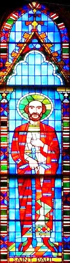 t. Joseph Basilica in Edmonton is home to this stained glass image of St. Paul.