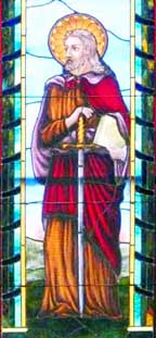 This stained-glass depiction of St. Paul appears in St. Paul's Anglican Cathedral in Regina.
